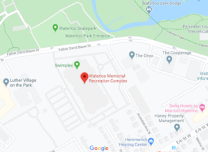 Map showing location of Waterloo Memorial Recreation Complex